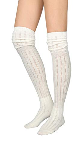 STYLEGAGA Winter Slouch Top Over The Knee High Knit Boot Socks (One Size:XS to M, Slouch Top_Ivory)