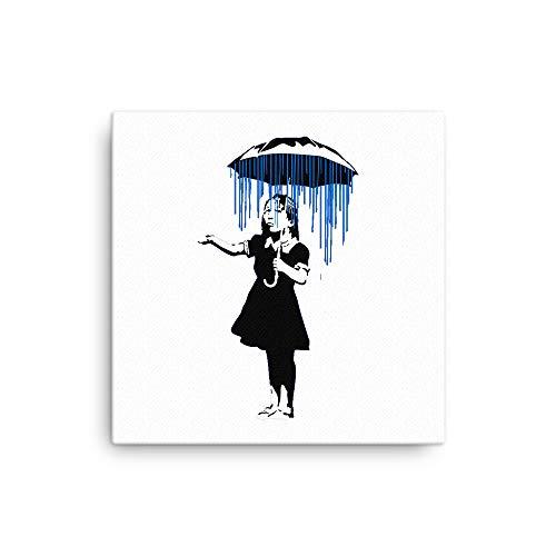 Banksy Regenschirm Mädchen Canvas 16×16 weiß