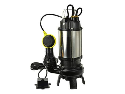 Bomba de Aguas Sucias - Bomba Sumergible con Trituradora y Flotador, Cuerpo en Níquel/Hierro Fundido - Bomba de Inmersión para Aguas Residuales - 1100W, 17 000L/h, Altura de Impulsiòn máx. 16,5m