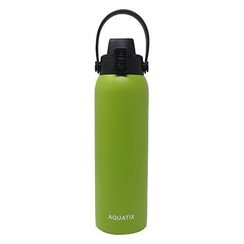 Aquatix FlipTop Sport Bottle AQ-FTG-LIM-32-N Aquatix FlipTop Double Walled Insulated Bottles, Stainless Steel, Lime