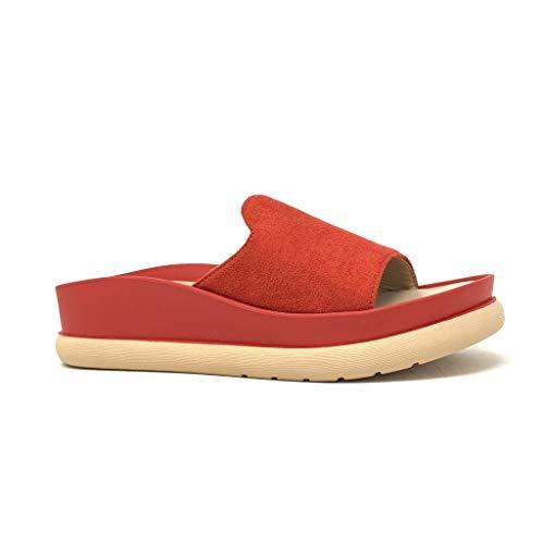 Angkorly – modieuze schoenen, sandalen, pannen, plat, grote zool, dames, riem, eenvoudige stijl, met wighakken, 4 cm