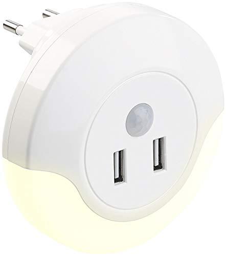 Luminea Ladegerät: LED-Steckdosen-Nachtlicht mit PIR- und Lichtsensor, 2x USB (10 Watt) (Nachtlicht mit Bewegungssensor)