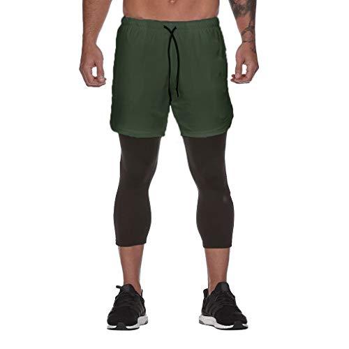 Yanhoo Herrenmode Sport Fitness Hosen mit Innentasche Fitness Hosen DK 000 Herren Inside Pocket Sports Fitness Cropped Pants