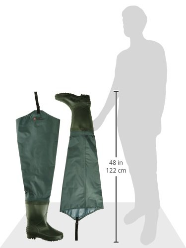 SHAKESPEARE Sigma Nylon Hip Wader Cleated Sole - Green, Size 8
