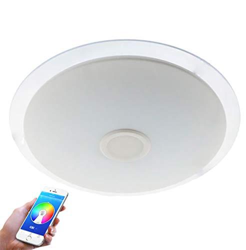 LEDUNI Plafón LED Lámpara de Techo con Altavoz Bluetooth, 36W, 2800 Lúmenes Regulable 3000K-6500K RGB Multicolor Cambio de color Con Mando a Distancia y Remoto Móvil APP Φ500mm*45Hmm IP20