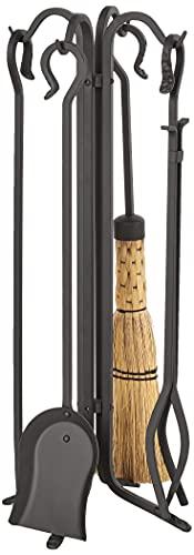 Pilgrim Home and Hearth Pilgrim Forged Iron Fireplace Tool Set 28', Warm Matte Black