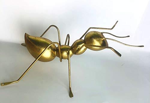 DECOHOUSE - Figura Decorativa Hormiga 36 cm - Decoracion de Pared pasillos Salon Dormitorio - Metal - Oro - Regalo Original