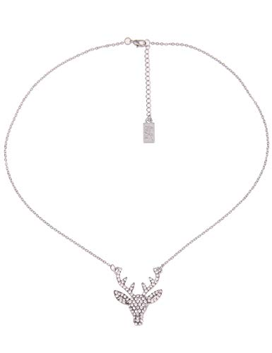 Leslii Damenkette Glitzer-Hirsch Oktoberfest Silberne Halskette Dirndl-Kette Trachten Kurze Modeschmuck-Kette in Silber