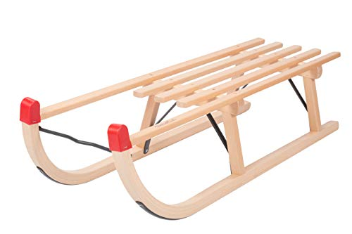 COLINT Davos Schlitten Holzschlitten traditionell Metall Strebe Holz Rodel Holzrodel