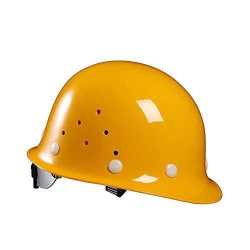 HSJDP Hard Hats Construction, Casque de sécurité,des Bandes de Sueur, Tour de tête Ajustable, Convient pour Les Chantiers de Construction, Produits Chimiques,Jaune,23x22x15cm