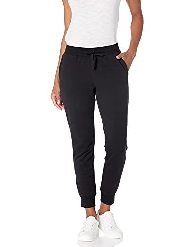 Amazon Essentials - pantaloni felpati da donna, in french terry, Nero (black), Medium (EU M - L)