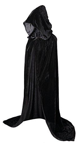 VGLOOK Full Length Hooded Cloak Long Velvet Cape for Christmas Halloween Cosplay Costumes 59inch Black