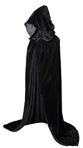 "VGLOOKO Full Length Hooded Robe Cloak Long Velvet Cape Cosplay Costume 59"" Black"