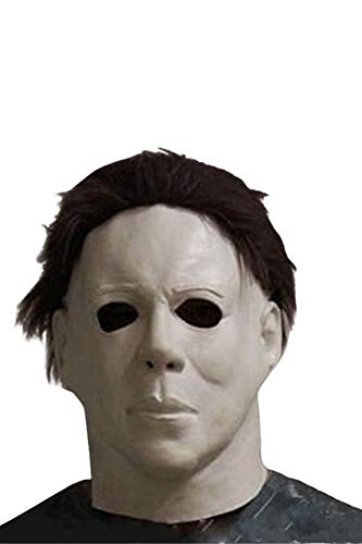 helymore Halloween Horror Movie Sombrerería de Michael Myers Latex Accesorios de Horrible Asesino de Cabeza Llena con Cabello 58~62cm