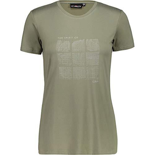 CMP – F.LLI Campagnolo Damen Elastisches T-Shirt mit Aufdruck, Kaki, D46