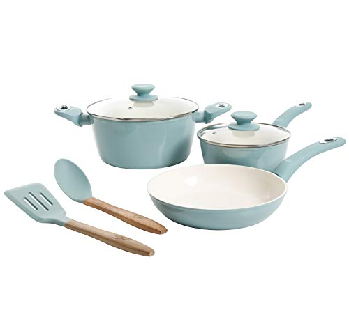 Gibson Home Plaze Café' Forged Aluminum Non-stick Ceramic Cookware with Induction Base and Soft Touch Bakelite Handle, 7-Piece Set, Sky Blue
