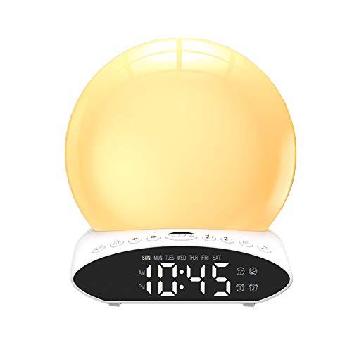 shuxuanltd Led Digital Alarma Despertador Despertador De Amanecer Lámpara De Atmósfera Colorida Brillo Ajustable con Función De Radio FM De Repetición De Proyección para Dormitorio