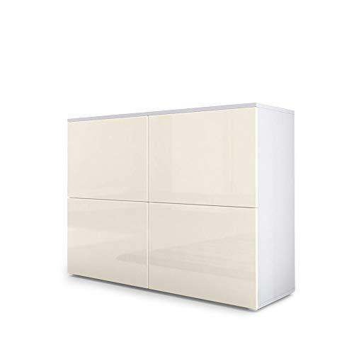 Vladon Kommode Sideboard Rova, Korpus in Weiß matt/Türen in Creme Hochglanz und Creme Hochglanz