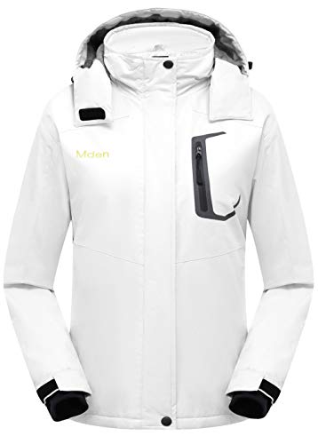 Mden Women's Insulated Jacket Snowboard Hooded Waterproof Mountain Ski Jacket Winter Coat(White, Large)