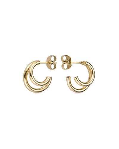 Pendientes Rosefield DHEG-J227 acero inoxidable chapado oro 18k colección Lois doble aro