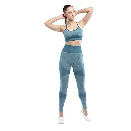 Conjuntos de mujer para deportes, entrenamiento sin fisuras Gimnasio Conjunto pedazo atractivo sujetador de los deportes para absorción de humedad de la yoga de las mujeres polainas Señora de moda