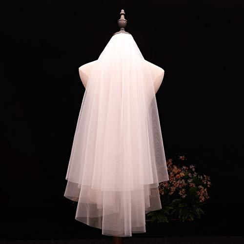 MYA 1Pc Voile De Mariée Voile De Mariée Blanc Minimaliste Simple 2 Niveaux Couches Femmes Filles Voiles De Mariage Courts Ivoire Blanc Tulle Voile De Mariée Mariage Avec Peigne