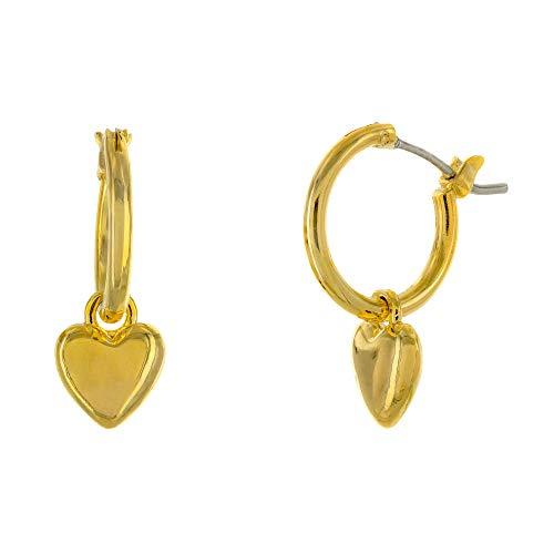 Columbus 14K Gold Plated Charm Huggie Hoop Earrings - Butterfly Earrings - Pearl Drops - Cowry Shell Dangle Earrings Heart Charm Huggies for Women (Gold Hearts)