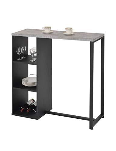 Meubletmoi bartafel van hout, zwart en dienblad in beton-look, statafel met planken, tafel met opbergruimte – Marko