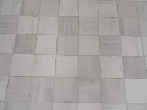 PVC Bodenbelag in cremefarbenen Fliesen (6,95€/m²), kleines Muster