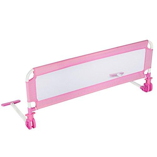 TecTake Kinder Bettgitter Bettschutzgitter 102cm -diverse Farben- (Pink)