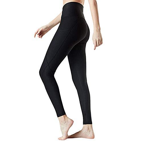 YEBIRAL Leggings Damen, Blickdicht Sportleggins für Sport Laufen Yoga, Sporthose Fitnesshose Tights Yoga Hose mit Taschen(M,Schwarz)