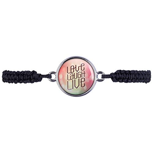 Mylery Bracelet with motivation quote Love Laugh Live Pink Silver or Bronze 16 mm silver