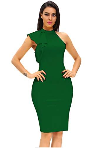 Shopall Vestido de Fiesta de cóctel con Cuello Alto y Mangas con Volantes para Mujer - Verde - X-Large