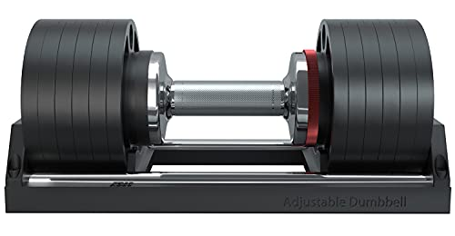SNODE Cast Iron Adjustable Dumbbell for Men and Women- with Anti-Slip Metal Handle, Adjustable Weight Plates for Strength Training Home Gym, Adjust in One Second- Single (50pounds)