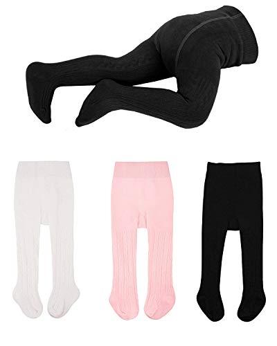 WEWINK CUKOO Baby-Strumpfhosen für Mädchen und Jungen Baumwolle Glatt Weich und Bequem Kinder-Strickstrumpfhosen, Schwarz / Weiß / Pink, 0-6 Monate