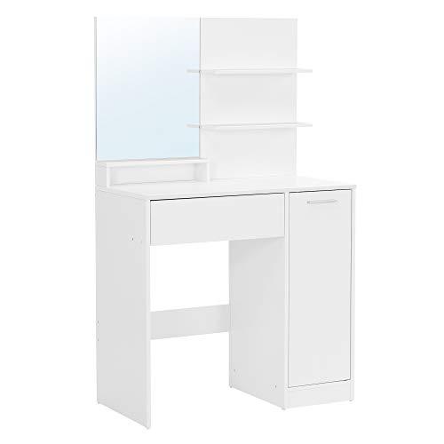 VASAGLE Tocador, mesa de maquillaje, con espejo, 1 cajón, 2 estantes, armario de almacenamiento, organizador de maquillaje, blanco RDT119W01