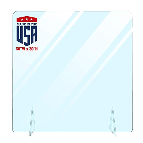 No Cutout Protective Sneeze Guard Shield for Counter and Desk,Freestanding Portable Plexiglass Barrier, Shield and Guard for Business, School (30'W x 30'H)