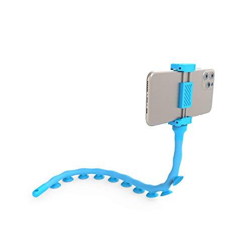 DigiPower Octopus Flexible Smartphone-Halterung mit Saugnäpfen, 51cm universal Handy Halter mit optimalen Halt auf glatten Oberflächen, hellblau, EU-DP-SCH-BL