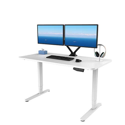 SANODESK Höhenverstellbarer Schreibtisch Elektrisch höhenverstellbares Tischgestell, 3-Fach-Teleskop mit der Tischplatte. Mit Memory-Steuerung und Softstart/-Stop (Weiß)