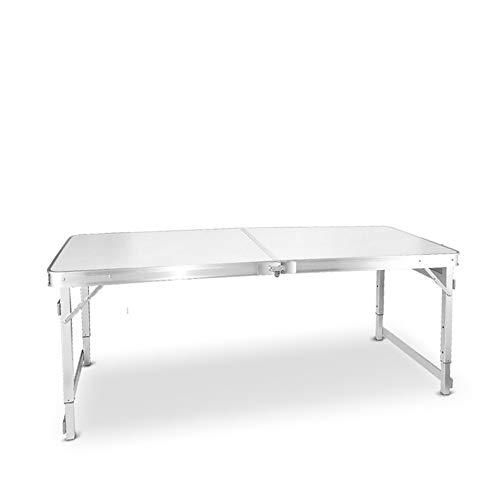 Eenvoudige klaptafel, outdoor campingtafel schrijftafel, computer bureau, stall tafel eettafel, draagbare aluminium tafel vezelplaat desktop, 150 cm * 60 cm * 55-70 cm (kleur: blauw) wit