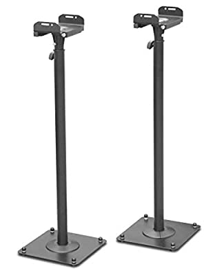 DRALL INSTRUMENTS 2 Pieces Speaker Stands made of metal Loudspeaker Stand Height Adjustable with Trunking Black Stand Model: BS16Bx2 by Yumatron Gmbh