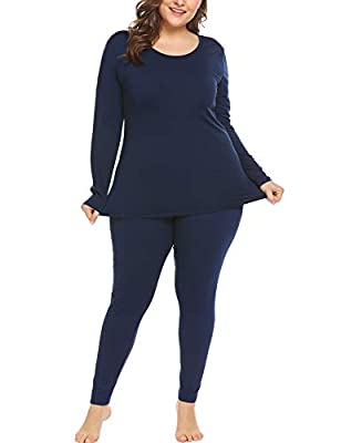 In'voland Women's Plus Size Thermal Long Johns Sets Fleece Lined 2 Pcs Underwear Top & Bottom Pajama Black 22W