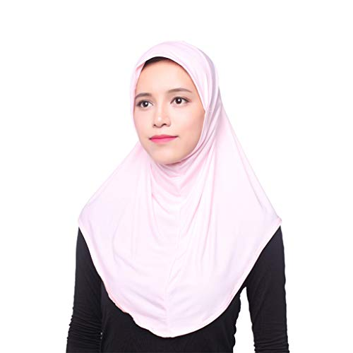 Amoyl Damen Kopftuch Elegante Moslem Hut Innen Hijab Kopftuch Mütze Islamischen Full Cover Hut (Rosa)