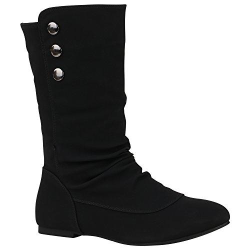 Bequeme Flache Damen Stiefel Hochschaft Stiefeletten Schuhe 149723 Schwarz Nieten 39 Flandell
