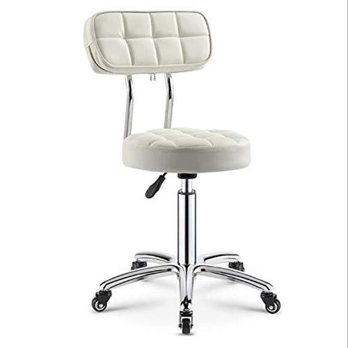 CANDYANA Stołek roboczy okrągły obrotowy fotel piękności wysyłka rolka fryzjer sklep fryzjerski stołek główny stołek, biały