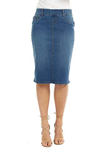 ESTEEZ Pull On Denim Skirt for Women Stretch Knee Length Boston Classic Blue 6