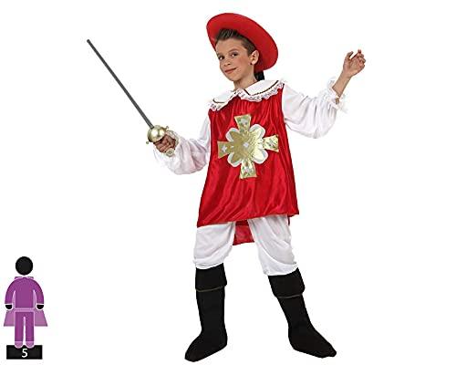 Atosa-19679 Costume-Déguisement Mousquetaire 5-6, Garçon, 19679, Rouge, De De 5 à 6 ans