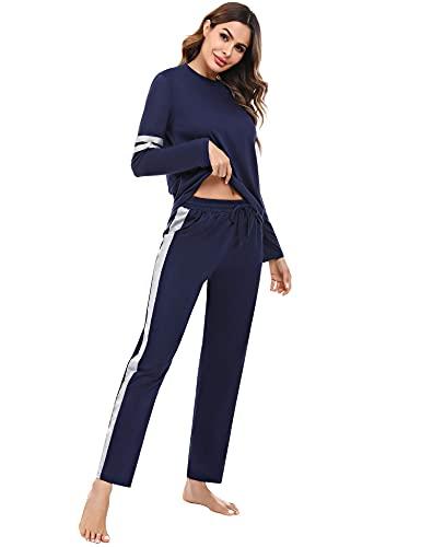 Akalnny Pijamas Mujer Algodón Mangas Largas Cómodo Suave Conjunto de Pijamas Casa Dormir Pantalón y Camiseta Pijamas Completa