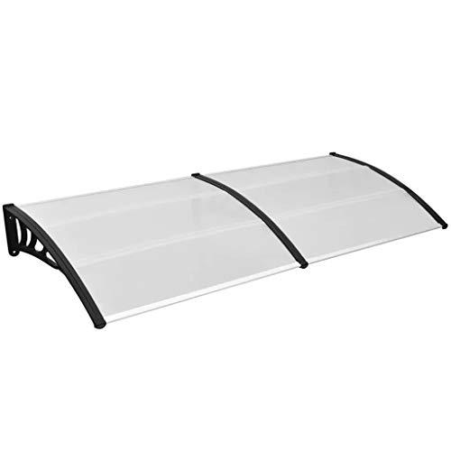 Cikonielf Markise aus Polycarbonat Schutzdach für Türen und Fenster 300 x 100 cm, schwarz+transparent