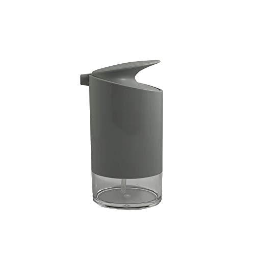 KOOK TIME Dispensador de Jabón Oval para Baño o Cocina | Dosificador de Jabón Líquido Capacidad | Jabonera Dispensador de Jabón, Color Gris y Transparente